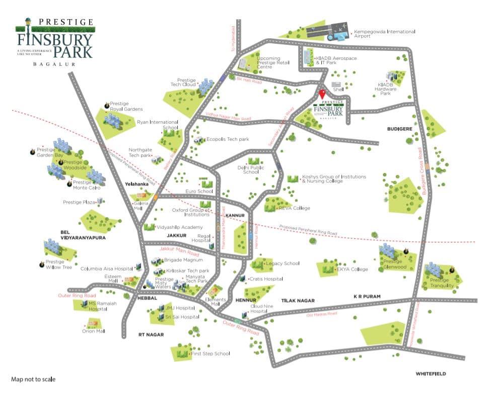 prestige-finsbury-park-regent-Apartment-in=Gummanahalli-Location-Map