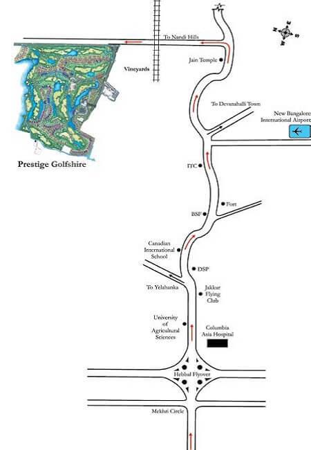 prestige-golfshire-Villas-in-Nandi hills-Bangalore-Image-Location-Map